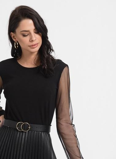 Styletag Kolları Tüllü Bluz Siyah